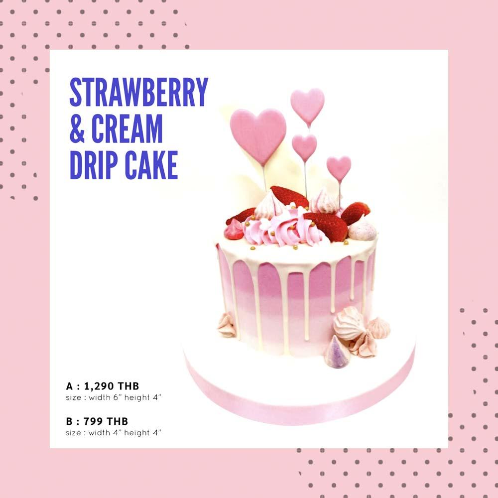สั่งเค้กวาเลนไทน์ Strawberry & Cream Drip Cake